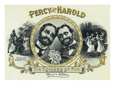 Percy and Harold Brand Cigar Box Label, The Coiners of Fun-Lantern Press-Art Print