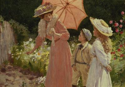 A Lady with a Parasol Showing How to Make a Strawberry Barrel by Percy Tarrant