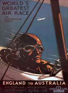 Air Race, England to Australia c.1934 by Percy Trompf