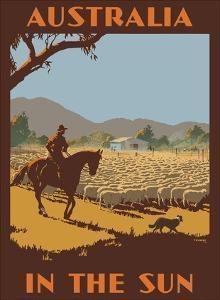 Australia - In the Sun - Australian Sheep Herder by Percy Trompf
