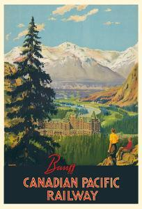 Banff Springs Hotel - Canadian Rockies - Canadian Pacific Railway by Percy Trompf
