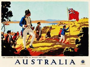 The Landing Of Captain Cook At Botany Bay, 1770 by Percy Trompf