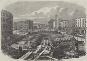 The Metropolitan (Underground) Railway, Works in Progress at King'S-Cross by Percy William Justyne