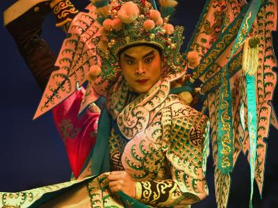 Performer in Chinese Opera, Sheng Hong Temple, Singapore, Singapore-Michael Coyne-Photographic Print
