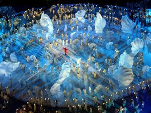 Performers on the Ice During the Opening Ceremonies of the 2002 Winter Olympics in Salt Lake City