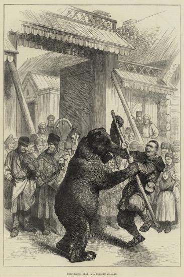 Performing Bear in a Russian Village--Giclee Print