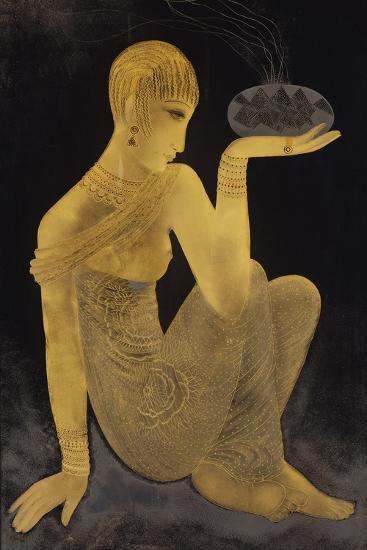 'Perfume'. A maiden scantily clad in an oriental style shawl, holding an incense burner. C. 1925-Jean Dunand-Giclee Print