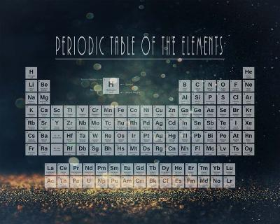 Periodic Table Gold Dust - Blue-Color Me Happy-Art Print