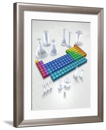 Periodic table of the elements with glassware--Framed Photographic Print