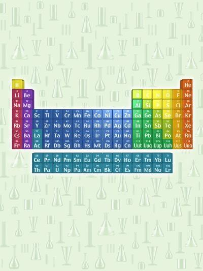 Periodic table of the elements with glassware--Photographic Print