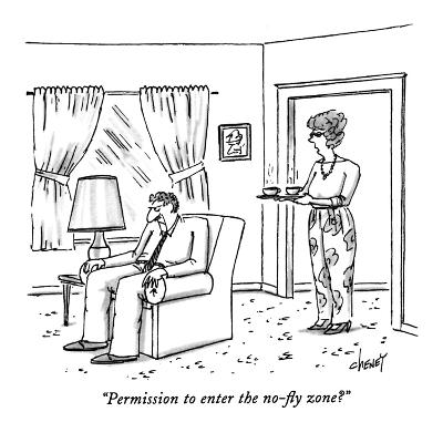 """""""Permission to enter the no-fly zone?"""" - New Yorker Cartoon-Tom Cheney-Premium Giclee Print"""