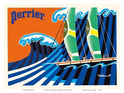 Perrier - The Sailboat - Hokusai The Great Wave-Bernard Villemot-Art Print
