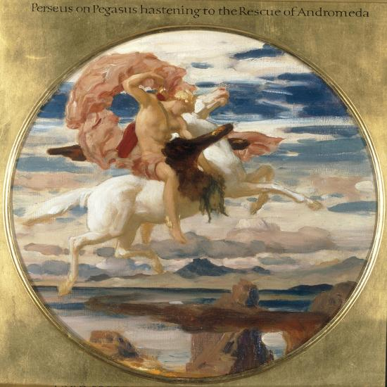 Perseus on Pegasus Hastening to the Rescue of Andromeda-Frederick Leighton-Giclee Print