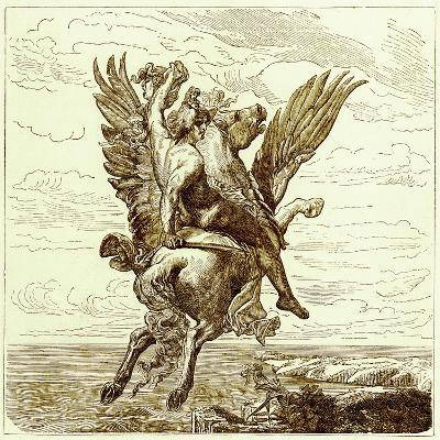 Perseus on the Winged Horse Pegasus, with Medusa's Head-English-Giclee Print