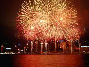 Fireworks Display Over Victoria Harbour for Chinese New Year, Hong Kong by Pershouse Craig