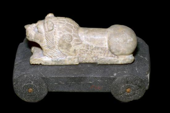 Persian lion mounted on a wheeled carriage. Artist: Unknown-Unknown-Giclee Print