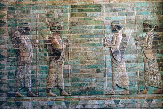 Persian relief of archers of the Persian Royal Guard. Artist: Unknown-Unknown-Giclee Print