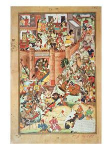Genghis Khan Captures a Chinese Town, Miniature by Persian School