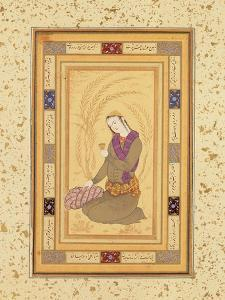 Seated Youth Holding a Cup, from the Large Clive Album, C.1610-20 by Persian School