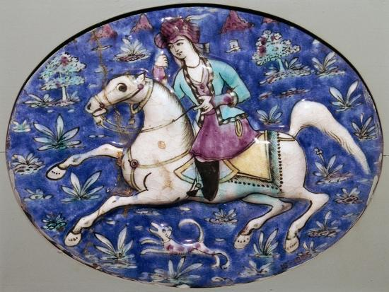 Persian tile depicting a horseman, 19th century. Artist: Unknown-Unknown-Giclee Print