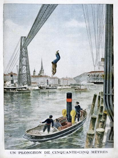 Person Plunges 55 Metres from Portside, Rouen, 1901--Giclee Print