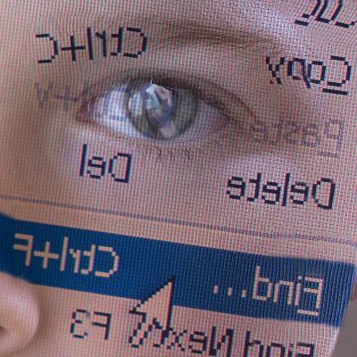 Person's Face with Superimposition of Backwards Computer Toolbar--Photographic Print