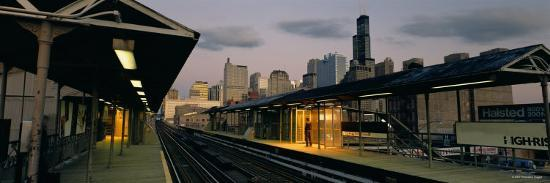 Person Standing on a Railroad Station Platform, Chicago, Illinois, USA--Photographic Print