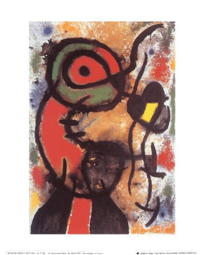 Personnage et Oiseau, c.1948-Joan Mir?-Art Print