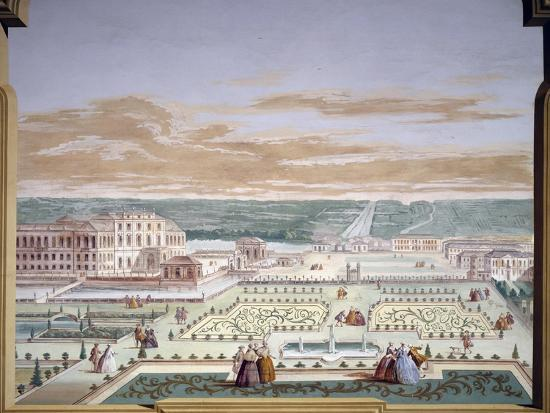 Perspective Drawing of a Villa and Imaginary Garden-Andrea Urbani-Giclee Print
