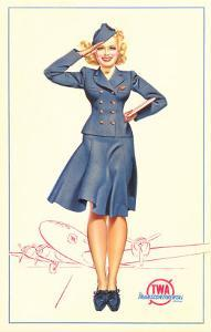 Pert Uniformed Stewardess Saluting