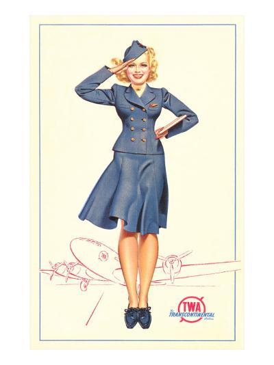 Pert Uniformed Stewardess Saluting--Art Print