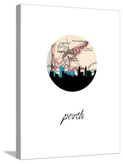 Perth Map Skyline-Paperfinch 0-Stretched Canvas Print