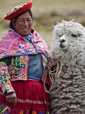 Peru a female with an alpaca at abra la raya photographic print