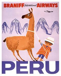 Peru - Braniff International Airways - Native Boy with Llama