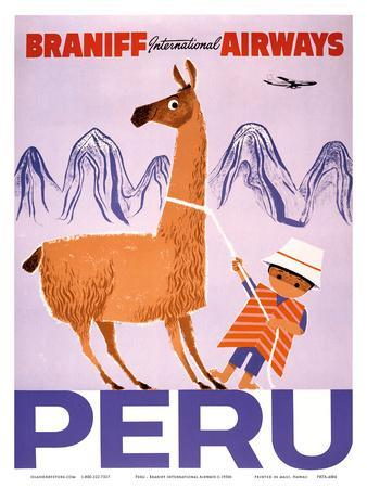 Peru - Braniff International Airways - Native Boy with Llama--Art Print