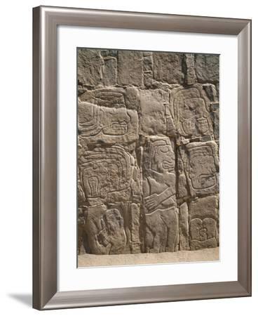 Peru, Cerro Sechin, Pre-Inca Archaeological Site, Stone Stele with Relief Depicting Massacre--Framed Giclee Print