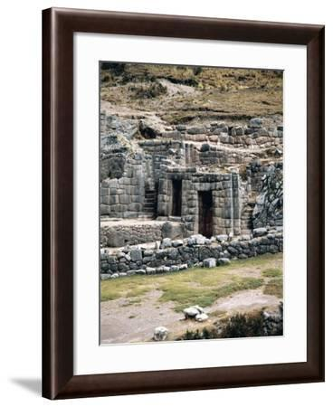 Peru, Cuzco, Tambomachay, Inca Archaeological Site, Walls and Fountains Called 'Inca Baths'--Framed Giclee Print