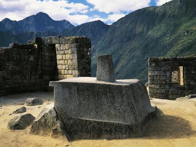 Peru, Urubamba Valley, Inca Civilization, Machu Picchu, Intihuatana Stone or Solar Calendar--Giclee Print