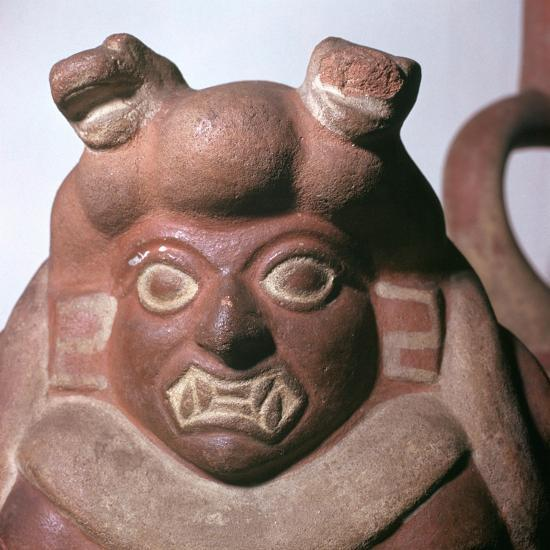 Peruvian earthenware bottle in the form of a squatting figure, 5th century. Artist: Unknown-Unknown-Giclee Print