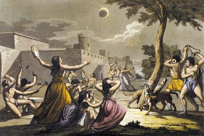 Peruvian Terrified During Lunar Eclipse, Colour Engraving-Gallo Gallina-Giclee Print