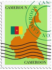 Stamp with Map and Flag of Cameroon by Perysty
