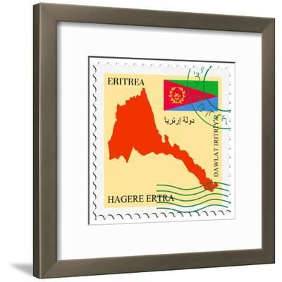 Stamp with Map and Flag of Eritrea