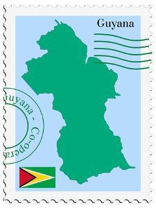Stamp with Map and Flag of Guyana by Perysty