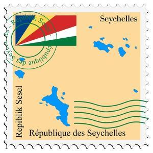 Stamp with Map and Flag of Seychelles by Perysty