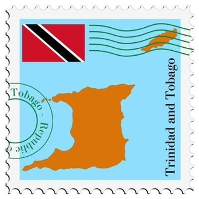 Stamp with Map and Flag of Trinidad and Tobago