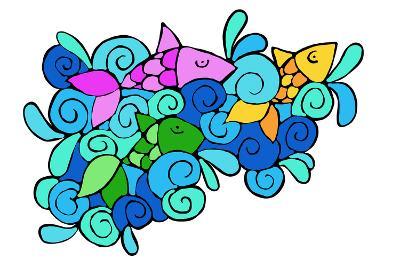Pesciolini Colorati-goccedicolore-Art Print