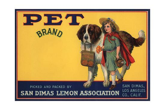 Pet Brand - San Dimas, California - Citrus Crate Label-Lantern Press-Art Print