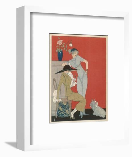 Pet Dog, Probably a Skye Terrier, with Its Fashionable Owners-Gerda Wegener-Framed Premium Giclee Print