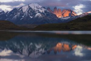 Lago Pehoe with Horn of Torres del Paine, Patagonia, Magellanic, Chile by Pete Oxford