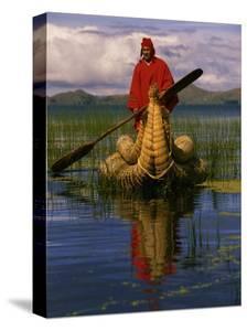 Traditiona Totora Reed Boat & Aymara, Lake Titicaca, Bolivia / Peru, South America by Pete Oxford